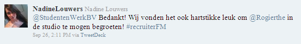 RecruiterFM reactie