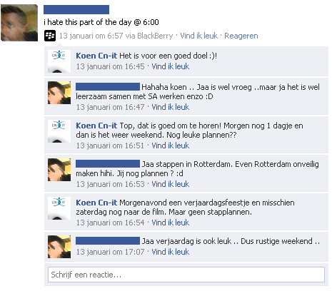 Facebook reactie recruitment